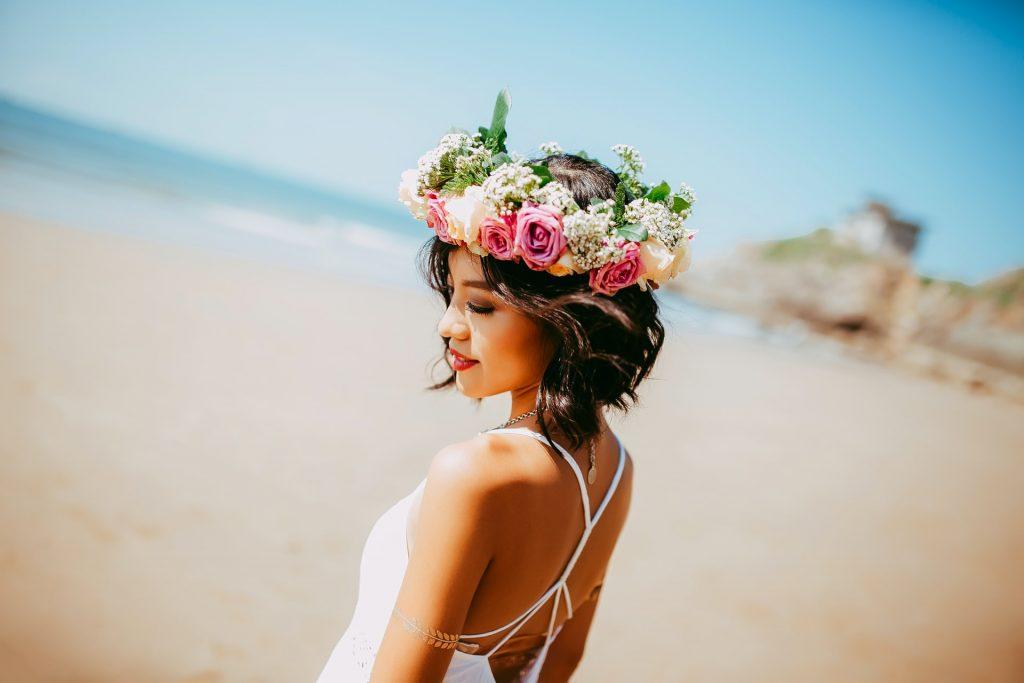 tender Japanese girl with flower in hair